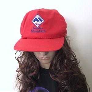 Vintage • 80s Powder Mountain Ski Red Trucker Hat